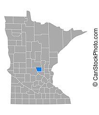Map of Benton in Minnesota