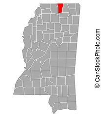 Map of Benton in Mississippi