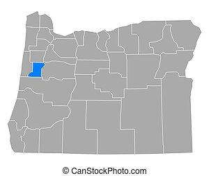 Map of Benton in Oregon