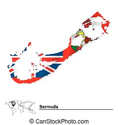 Map of Bermuda with flag