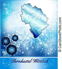 Map of Bernkastel-Wittlich in Christmas Design in blue