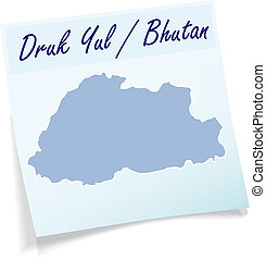 Map of bhutan as sticky note