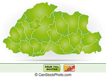 Map of bhutan with borders in green