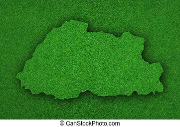 Map of Bhutan on green felt