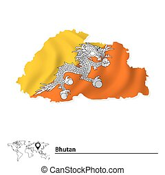 Map of Bhutan with flag