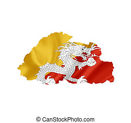 Map of Bhutan with waving flag isolated on white