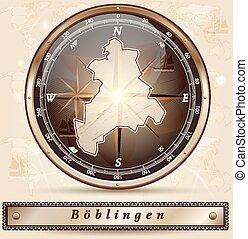 Map of Boeblingen with borders in bronze