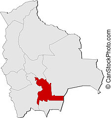 Map of Bolivia, Chuquisaca highlighted