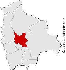 Map of Bolivia, Cochabamba highlighted