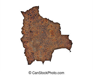 Map of Bolivia on rusty metal