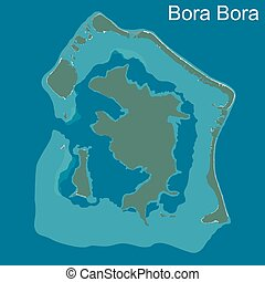 Map of Bora Bora - A large and detailed map of Bora Bora