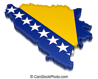 Map of Bosnia and Herzegovina. 3d render Image. Image with clipping path
