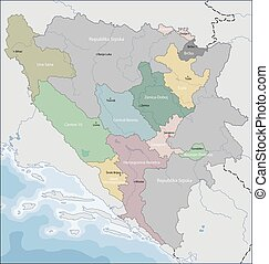 Map of Bosnia and Herzegovina - Bosnia and Herzegovina is a...