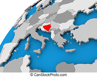 Map of Bosnia and Herzegovina in red - Bosnia and...