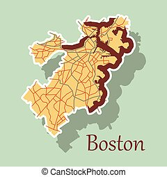 Boston city map. Boston city ( united states cities, united states ...