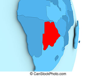 Map of Botswana in red