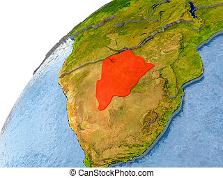 Map of Botswana in red on globe