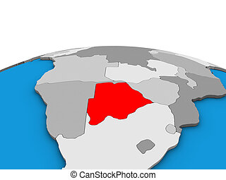 Map of Botswana on 3D globe