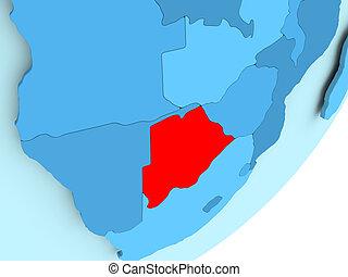 Map of Botswana on blue political globe
