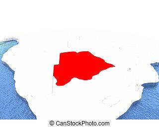Map of Botswana on globe