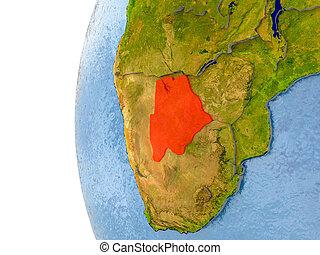 Map of Botswana on model of globe