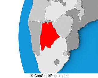 Map of Botswana on political globe