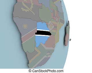 Map of Botswana on political globe with flag