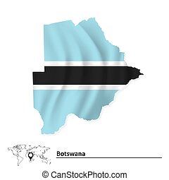 Map of Botswana with flag