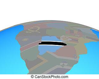 Map of Botswana with flag on globe