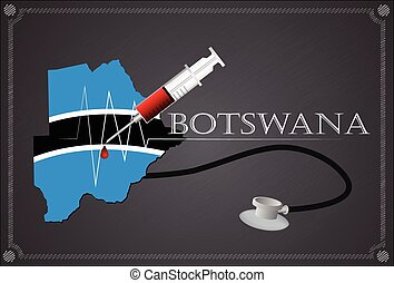Map of Botswana with Stethoscope and syringe.