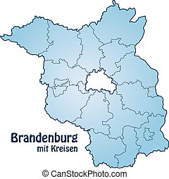 Map of Brandenburg with borders in blue