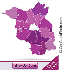 Map of Brandenburg with borders in violet