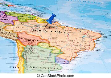 Map of Brasil with a white pushpin stuck - Map of Brazil...