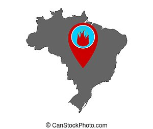 Map of Brazil and pin with fire warning