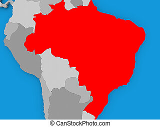 Map Brazil Dillustration Map Of Brazil As A Gray Picture - Political map of brazil