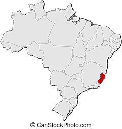 Political map of Brazil with the several states where Esp?rito Santo is highlighted.