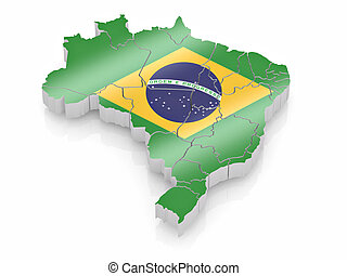 Map of Brazil in Brazilian flag colors. 3d