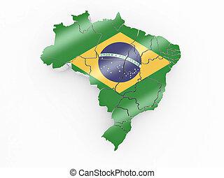 Map of Brazil in Brazilian flag colors