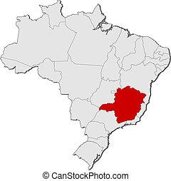 Map of Brazil, Minas Gerais highlighted - Political map of...