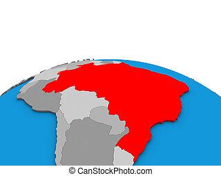 Map of Brazil on 3D globe