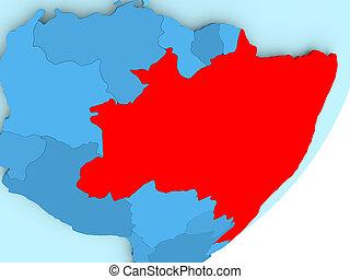 Map of Brazil on blue political globe