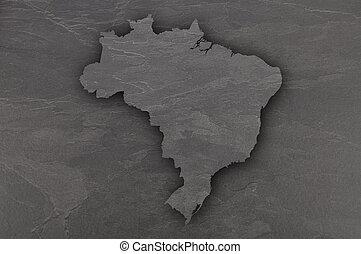 Map of Brazil on dark slate