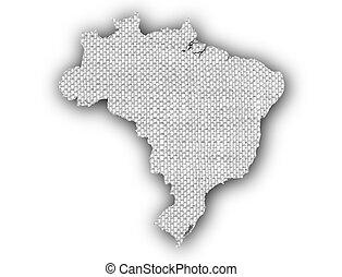 Map of Brazil on old linen