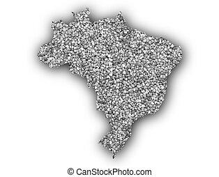 Map of Brazil on poppy seeds