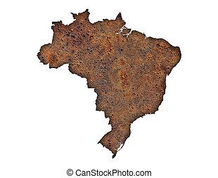Map of Brazil on rusty metal