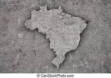 Map of Brazil on weathered concrete