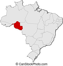 Map of Brazil, Rondonia highlighted - Political map of...