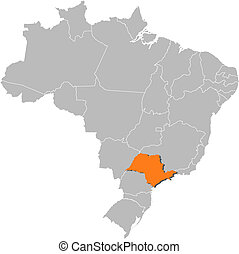 Map of Brazil, Sao Paulo highlighted - Political map of...