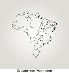 Vector Drawing Map Of Brazil And Brasilia