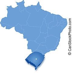Map of Brazil where Rio Grande do Sul is pulled out -...